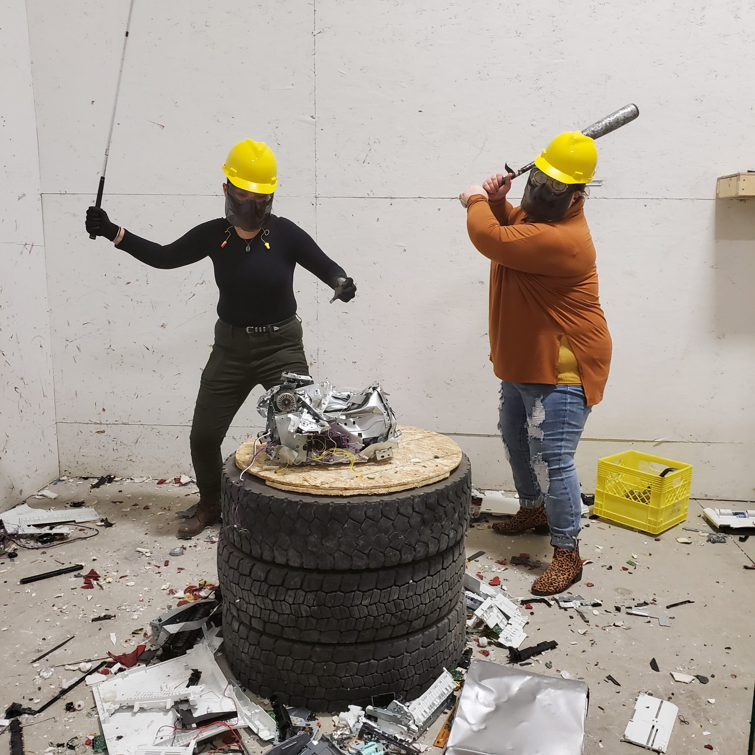 women in smash room